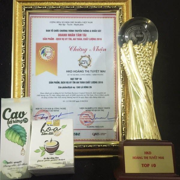 giải thưởng trà hoa sâm đất
